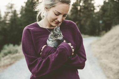 A young blonde woman in a purple sweater hues a tabby kitten who is looking to the right