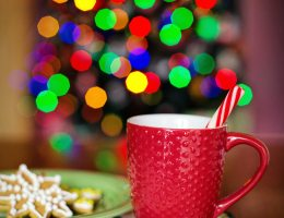 Mug with candy cane next to a plate of cookies with a blurred Christmas tree in the background