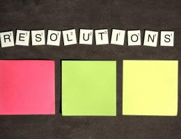 Spelling out resolutions in scrabble letters with three coloured sticky notes