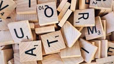 A pile of scrabble letter tiles
