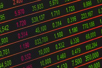 Close up of a stock exchange board with red and green numbers